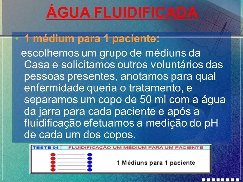 ÁGUA FLUIDIFICADA 1 médium para 1 paciente: