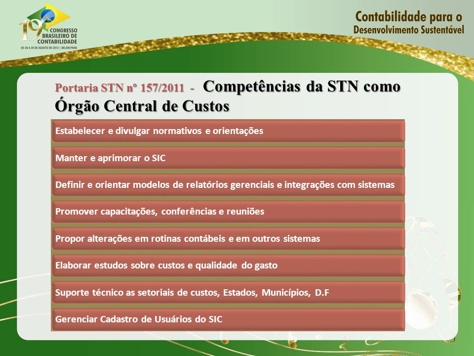 Portaria STN nº 157/2011 - Competências da STN como Órgão Central de Custos