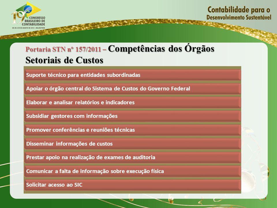 Portaria STN nº 157/2011 – Competências dos Órgãos Setoriais de Custos