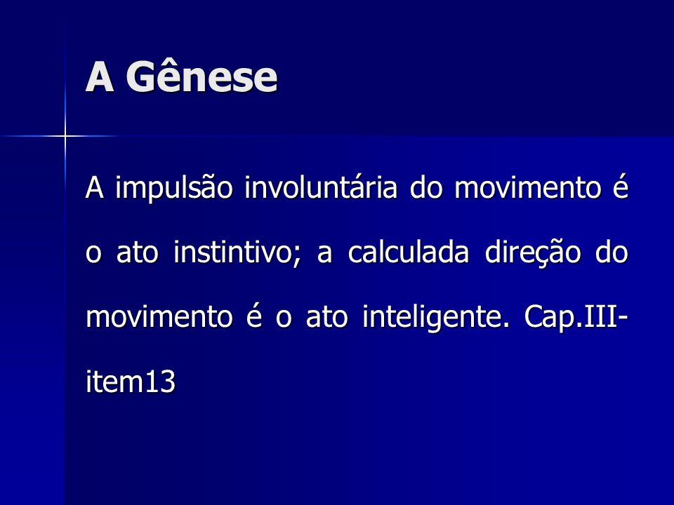 A Gênese A impulsão involuntária do movimento é o ato instintivo; a calculada direção do movimento é o ato inteligente.