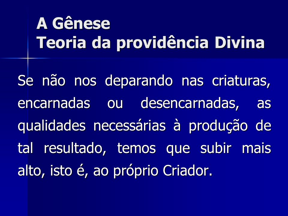 A Gênese Teoria da providência Divina