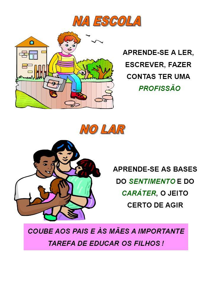 COUBE AOS PAIS E ÀS MÃES A IMPORTANTE TAREFA DE EDUCAR OS FILHOS !