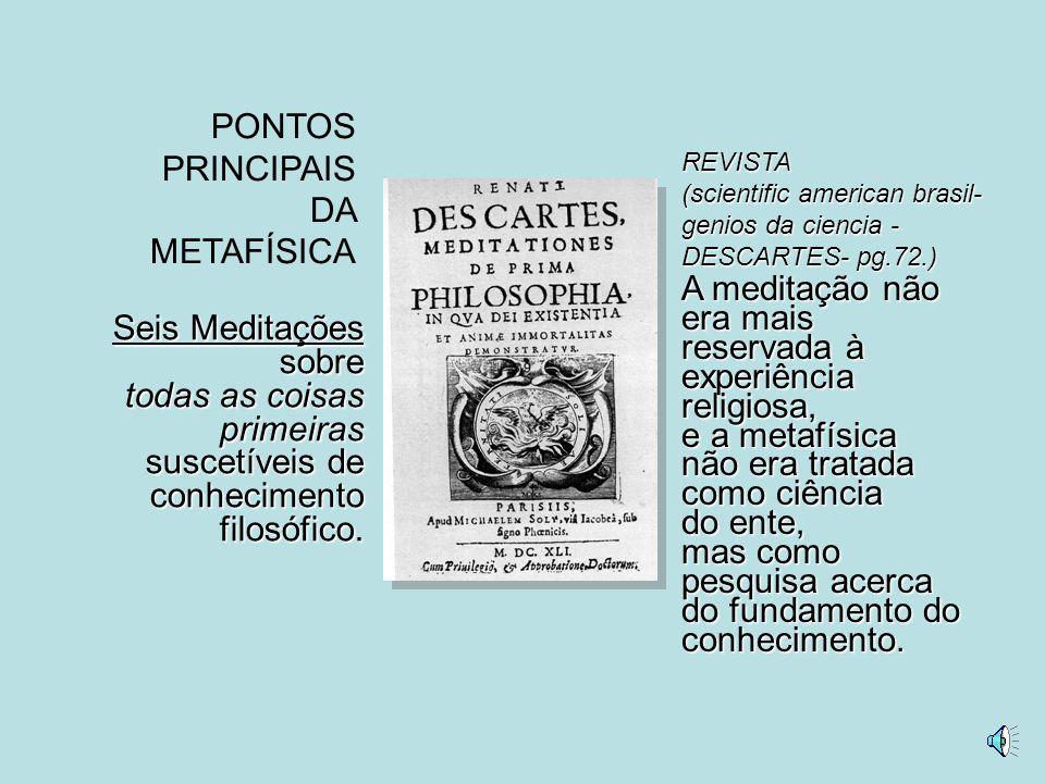 PONTOS PRINCIPAIS DA METAFÍSICA