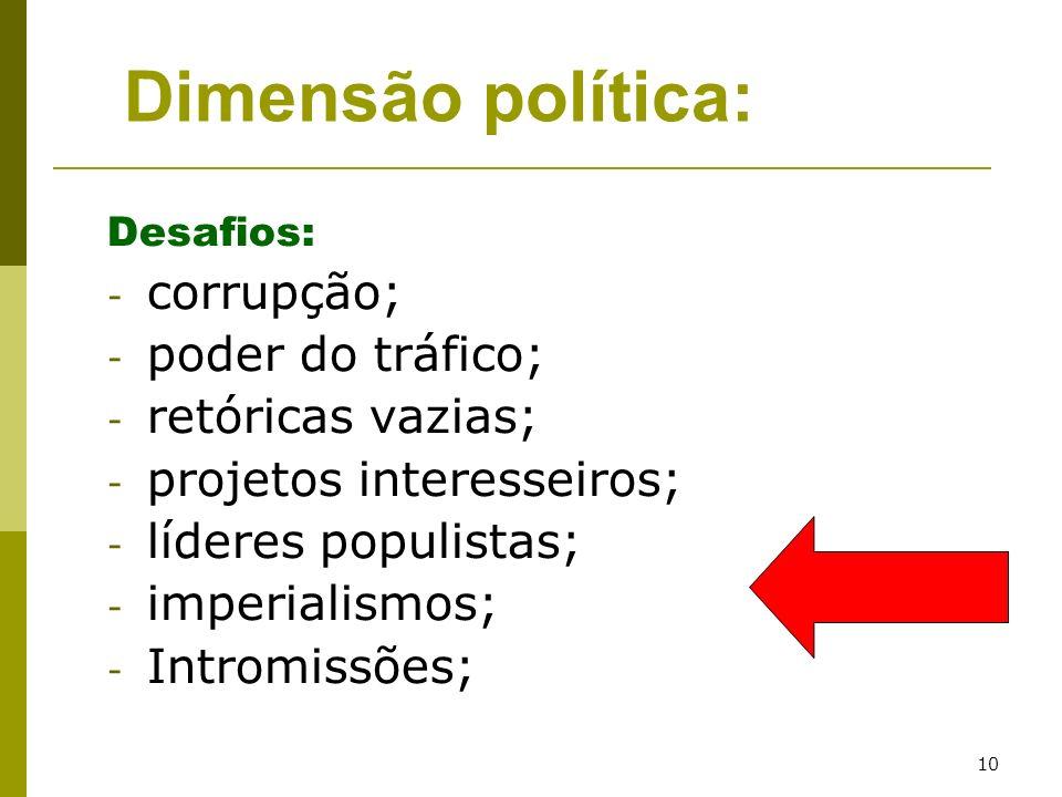 Dimensão política: corrupção; poder do tráfico; retóricas vazias;