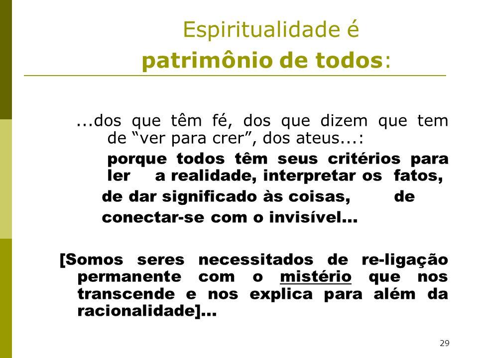 Espiritualidade é patrimônio de todos: