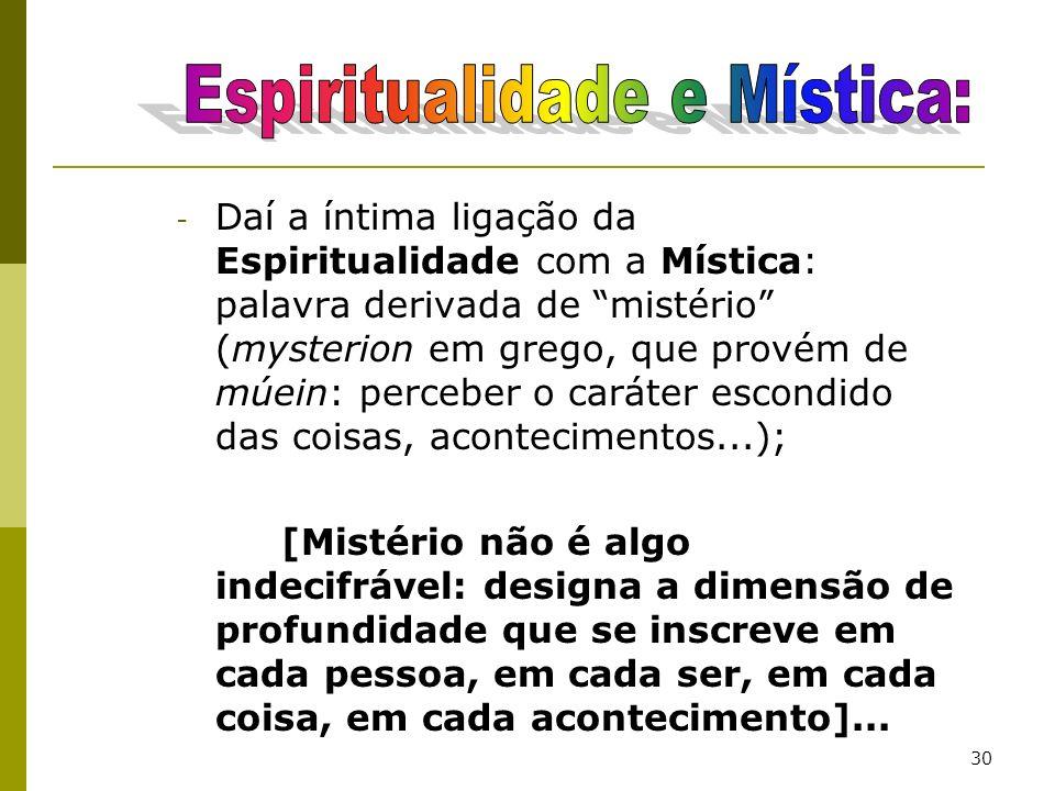 Espiritualidade e Mística: