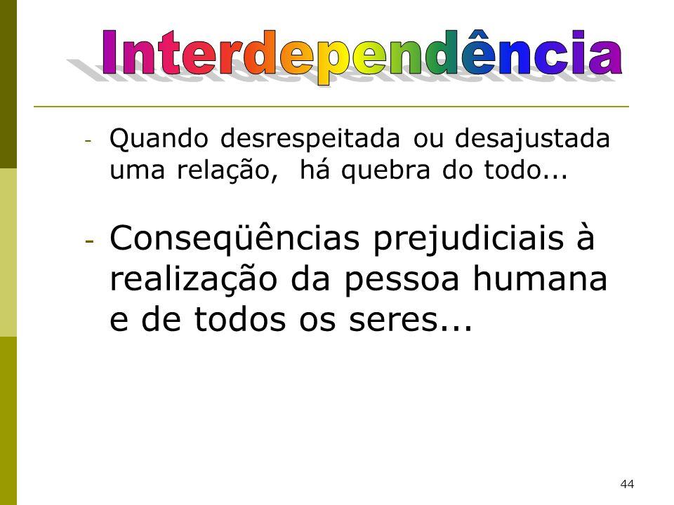 Interdependência Quando desrespeitada ou desajustada uma relação, há quebra do todo...