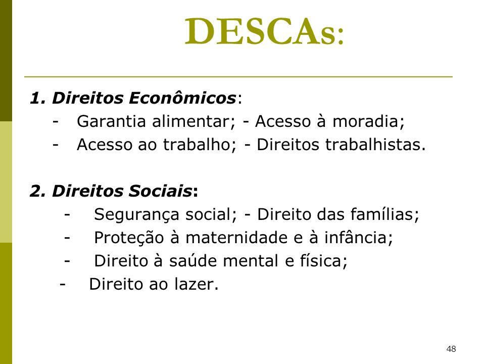 DESCAs: 1. Direitos Econômicos: