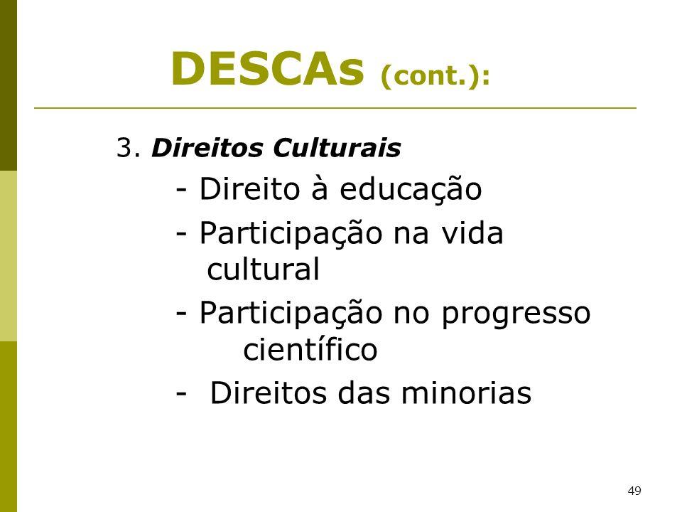 DESCAs (cont.): - Participação na vida cultural