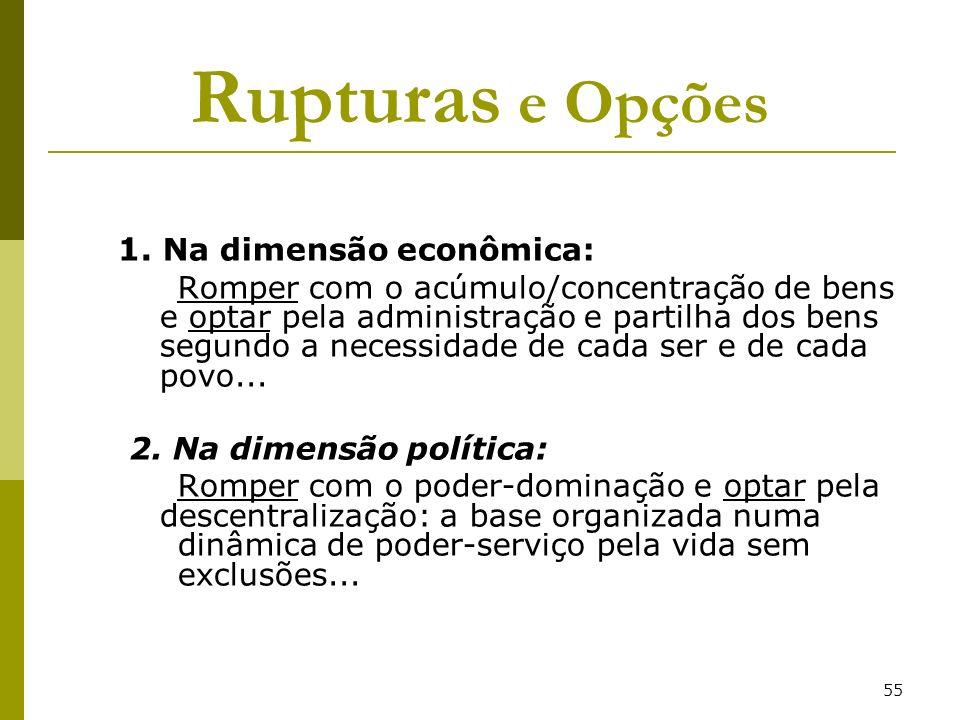 Rupturas e Opções 1. Na dimensão econômica: