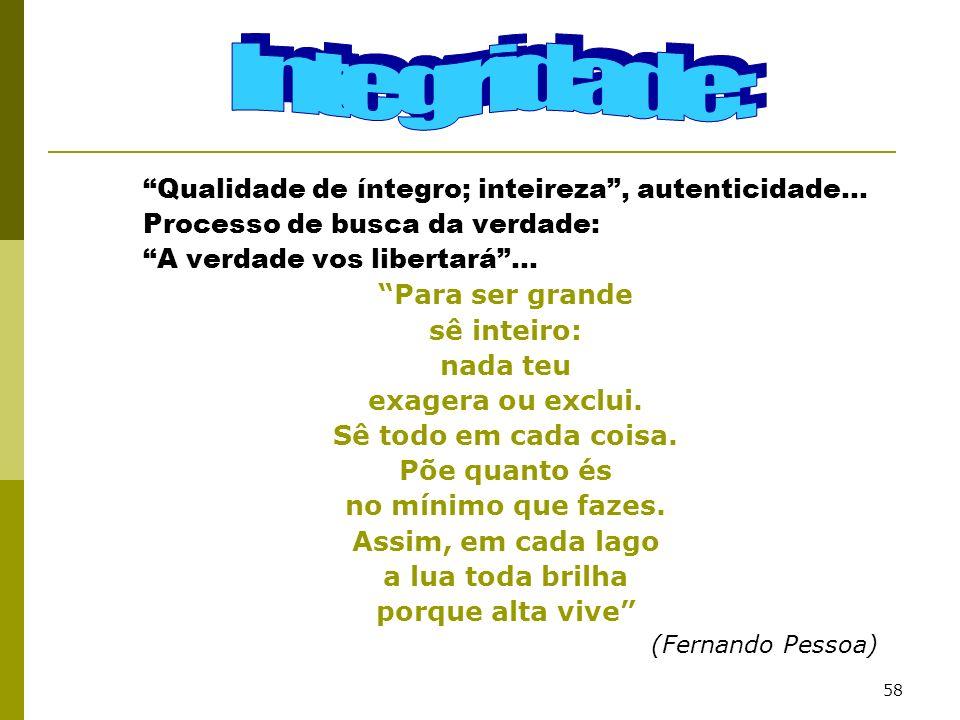 Integridade: Qualidade de íntegro; inteireza , autenticidade...