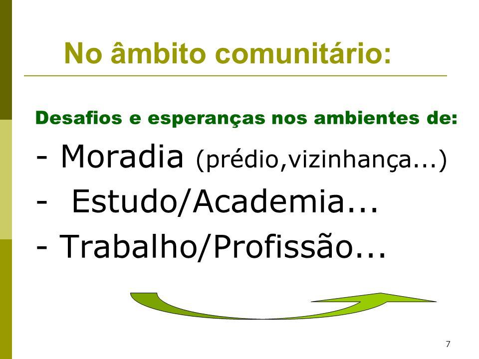 - Moradia (prédio,vizinhança...) - Estudo/Academia...