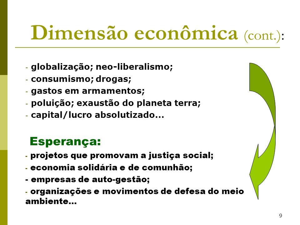 Dimensão econômica (cont.):