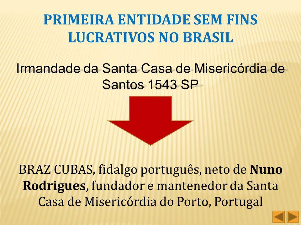 PRIMEIRA ENTIDADE SEM FINS LUCRATIVOS NO BRASIL