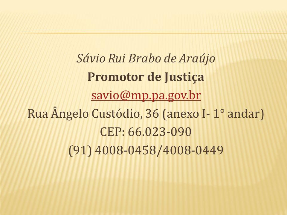 Sávio Rui Brabo de Araújo Promotor de Justiça savio@mp. pa. gov