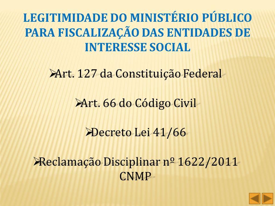 Art. 127 da Constituição Federal Art. 66 do Código Civil