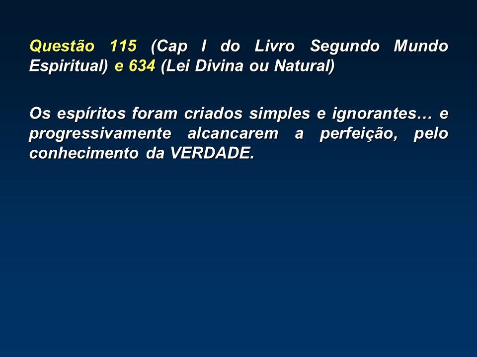 Questão 115 (Cap I do Livro Segundo Mundo Espiritual) e 634 (Lei Divina ou Natural) Os espíritos foram criados simples e ignorantes… e progressivamente alcancarem a perfeição, pelo conhecimento da VERDADE.