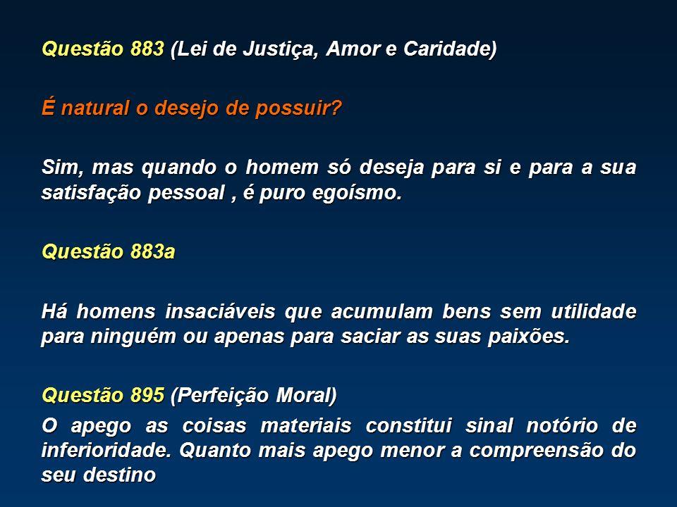 Questão 883 (Lei de Justiça, Amor e Caridade) É natural o desejo de possuir.