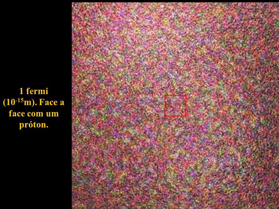 1 fermi (10-15m). Face a face com um próton.