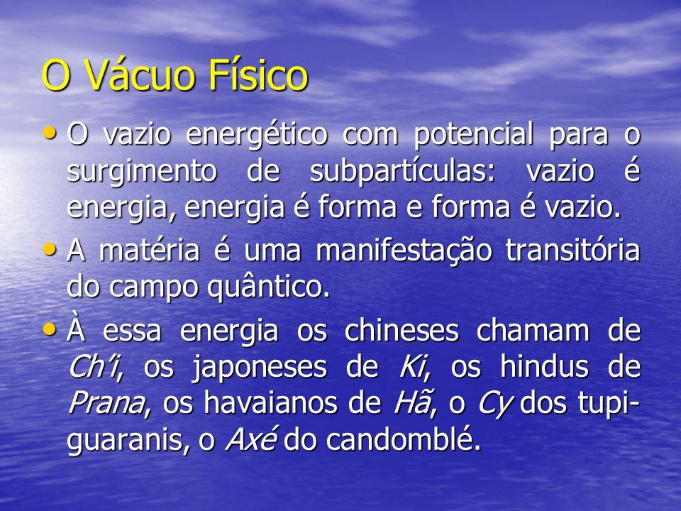O Vácuo Físico O vazio energético com potencial para o surgimento de subpartículas: vazio é energia, energia é forma e forma é vazio.