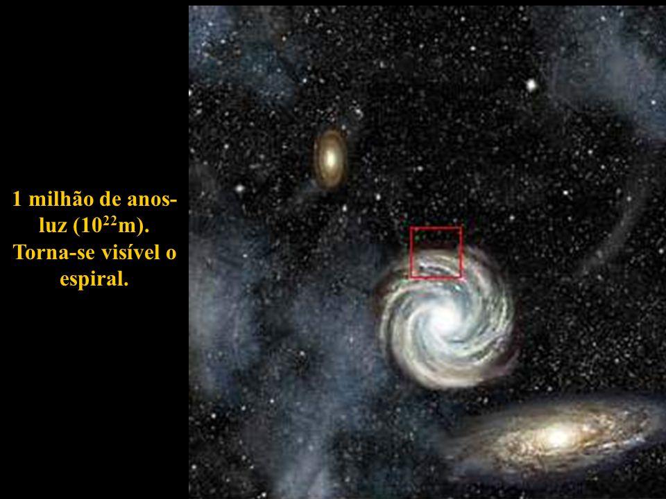1 milhão de anos-luz (1022m). Torna-se visível o espiral.