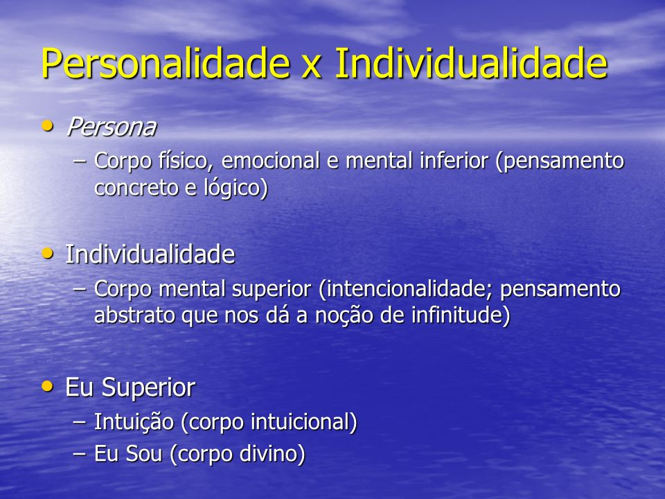 Personalidade x Individualidade