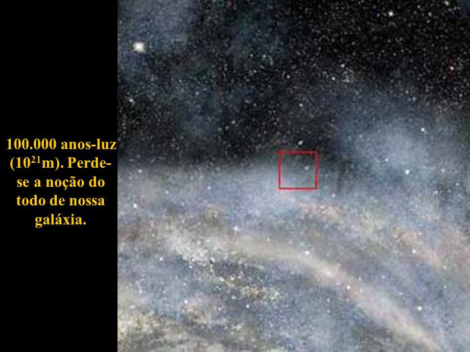 100.000 anos-luz (1021m). Perde-se a noção do todo de nossa galáxia.