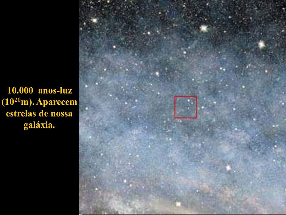 10.000 anos-luz (1020m). Aparecem estrelas de nossa galáxia.