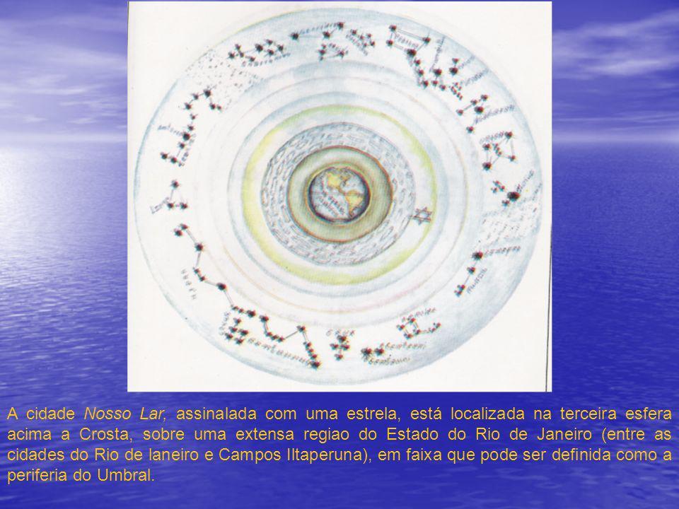 A cidade Nosso Lar, assinalada com uma estrela, está localizada na terceira esfera acima a Crosta, sobre uma extensa regiao do Estado do Rio de Janeiro (entre as cidades do Rio de laneiro e Campos Iltaperuna), em faixa que pode ser definida como a periferia do Umbral.