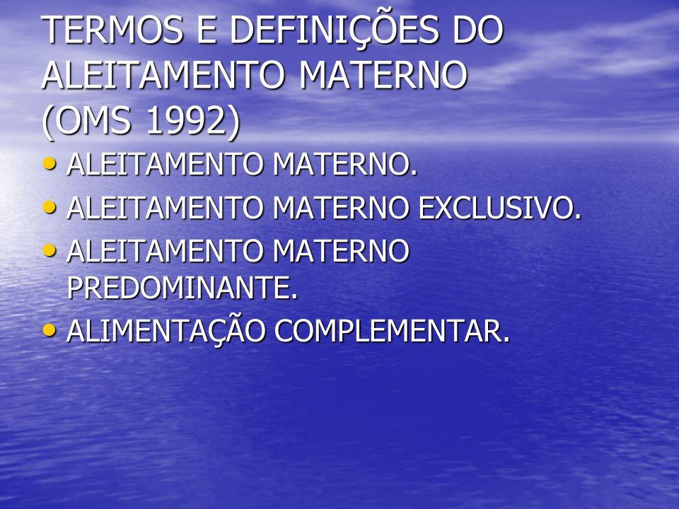 TERMOS E DEFINIÇÕES DO ALEITAMENTO MATERNO (OMS 1992)