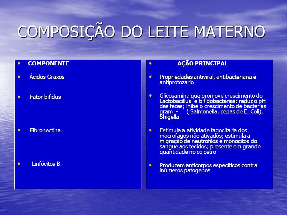 COMPOSIÇÃO DO LEITE MATERNO
