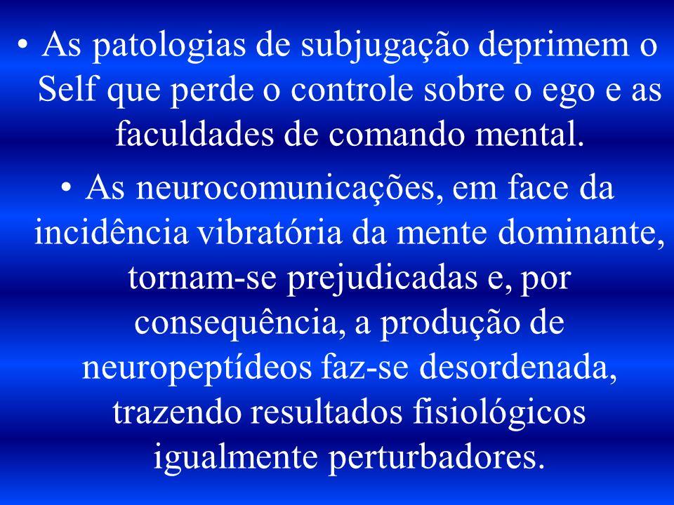 As patologias de subjugação deprimem o Self que perde o controle sobre o ego e as faculdades de comando mental.