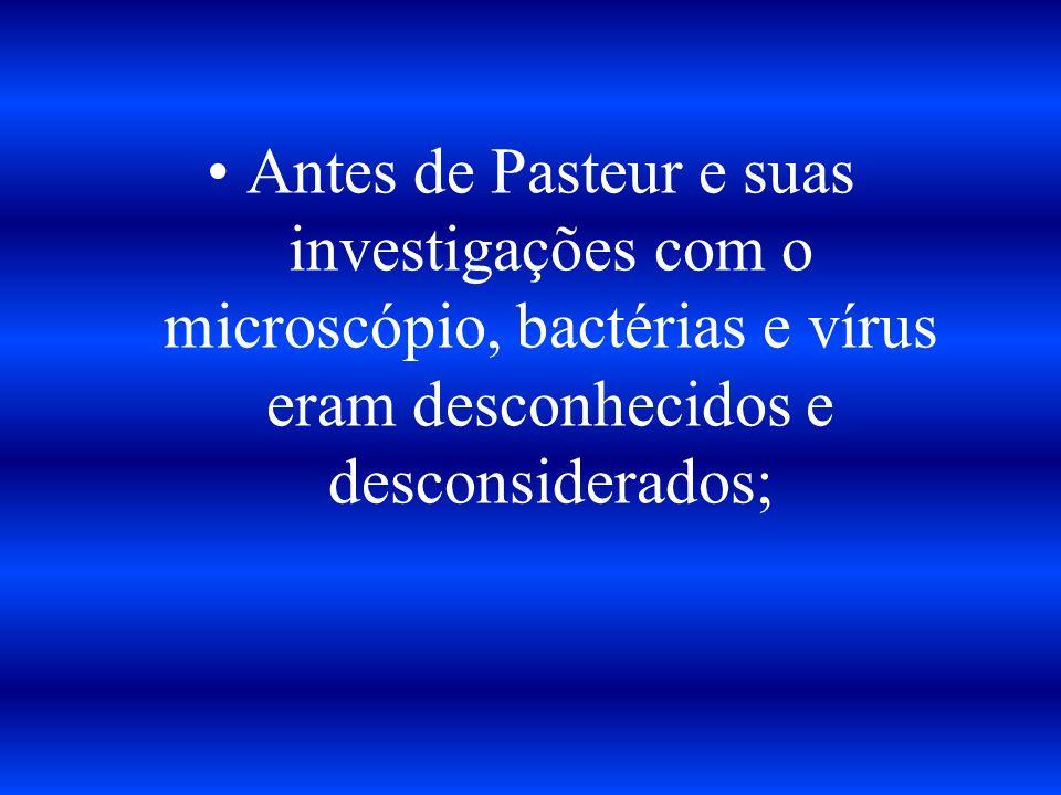 Antes de Pasteur e suas investigações com o microscópio, bactérias e vírus eram desconhecidos e desconsiderados;