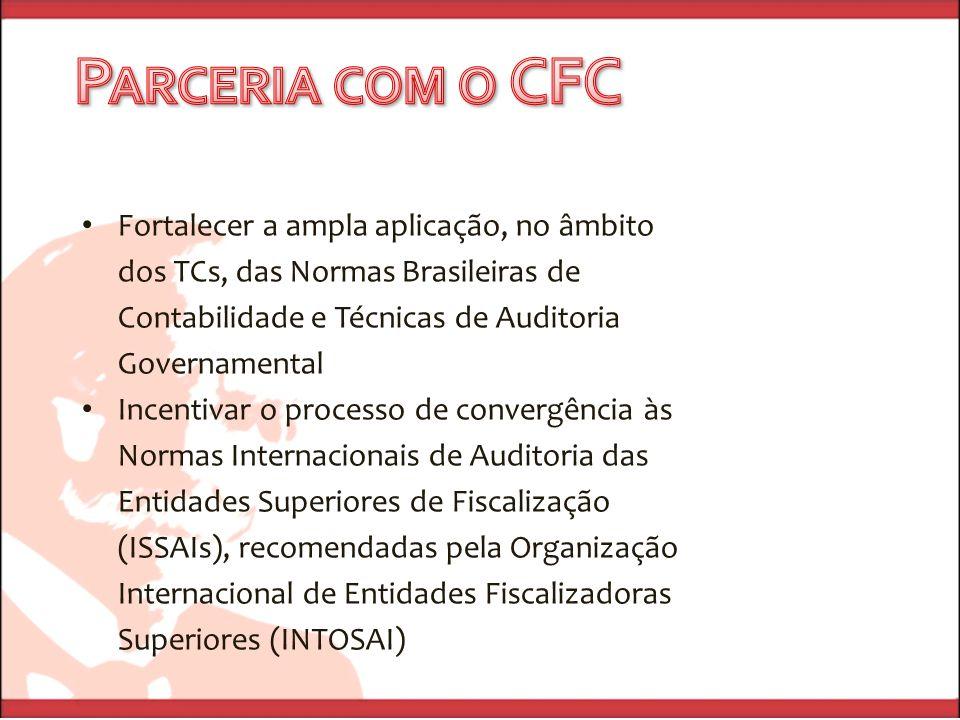 Parceria com o CFC Fortalecer a ampla aplicação, no âmbito dos TCs, das Normas Brasileiras de Contabilidade e Técnicas de Auditoria Governamental.