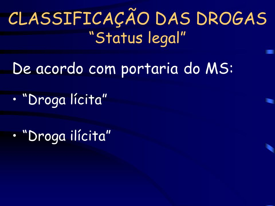CLASSIFICAÇÃO DAS DROGAS Status legal