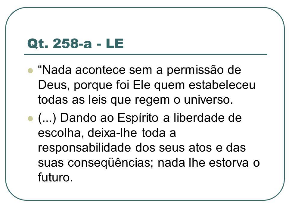Qt. 258-a - LE Nada acontece sem a permissão de Deus, porque foi Ele quem estabeleceu todas as leis que regem o universo.
