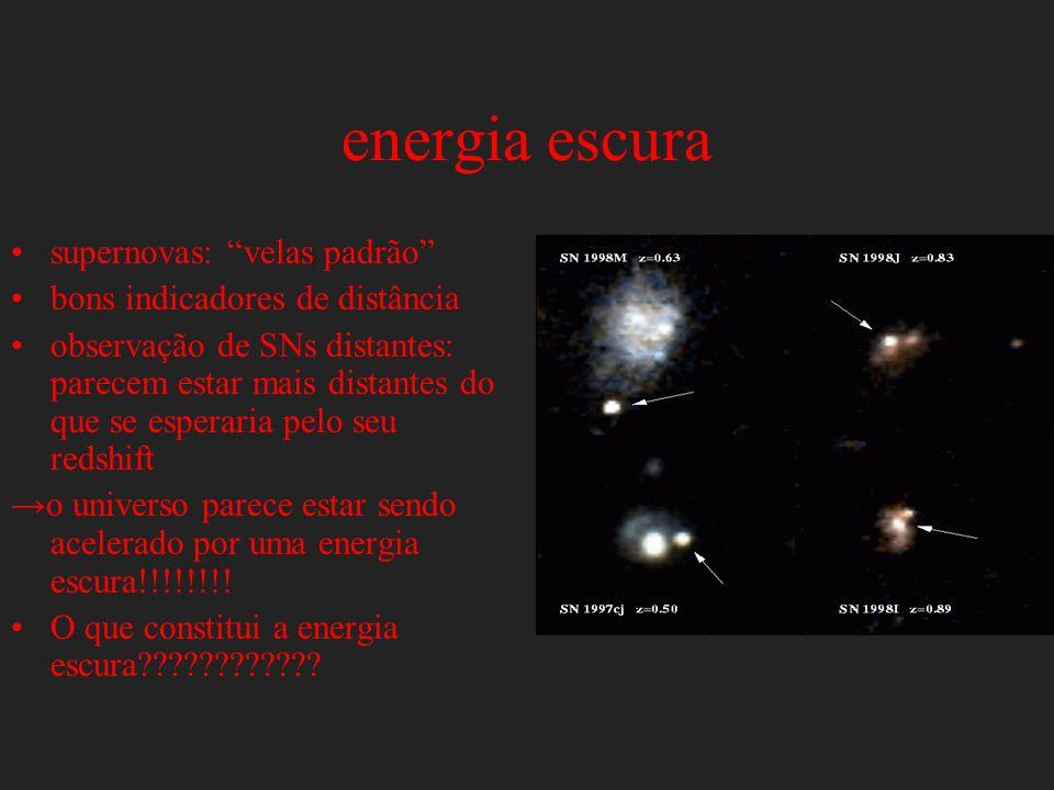 energia escura supernovas: velas padrão