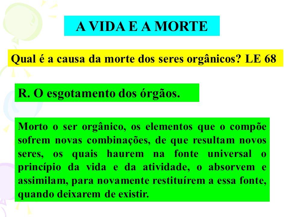 A VIDA E A MORTE R. O esgotamento dos órgãos.