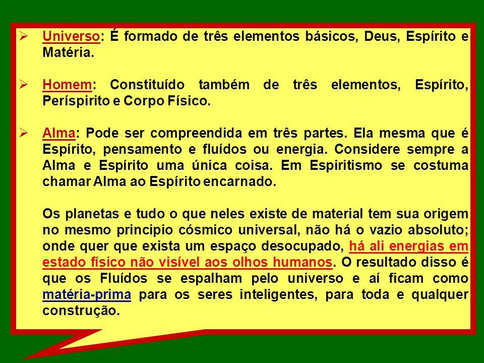 Universo: É formado de três elementos básicos, Deus, Espírito e Matéria.