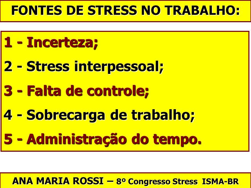 2 - Stress interpessoal; 3 - Falta de controle;