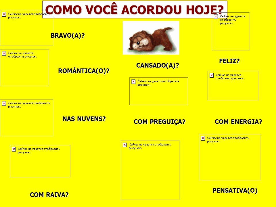 COMO VOCÊ ACORDOU HOJE BRAVO(A) FELIZ CANSADO(A) ROMÂNTICA(O)