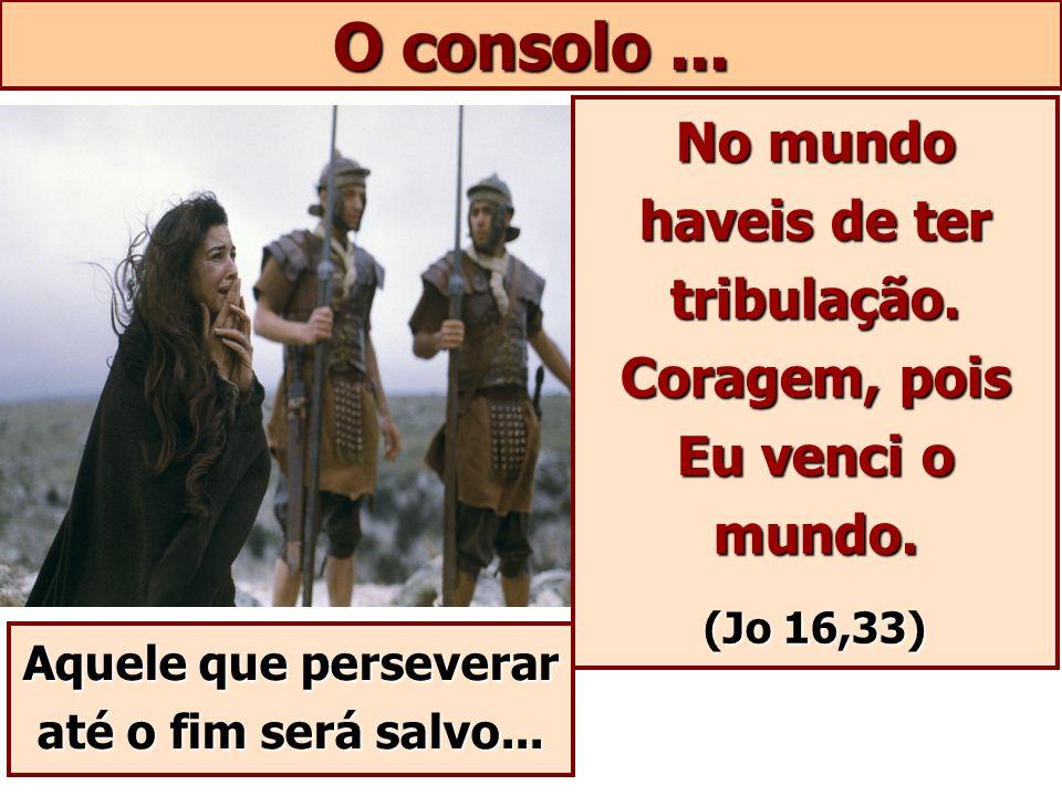 O consolo ... No mundo haveis de ter tribulação. Coragem, pois Eu venci o mundo.