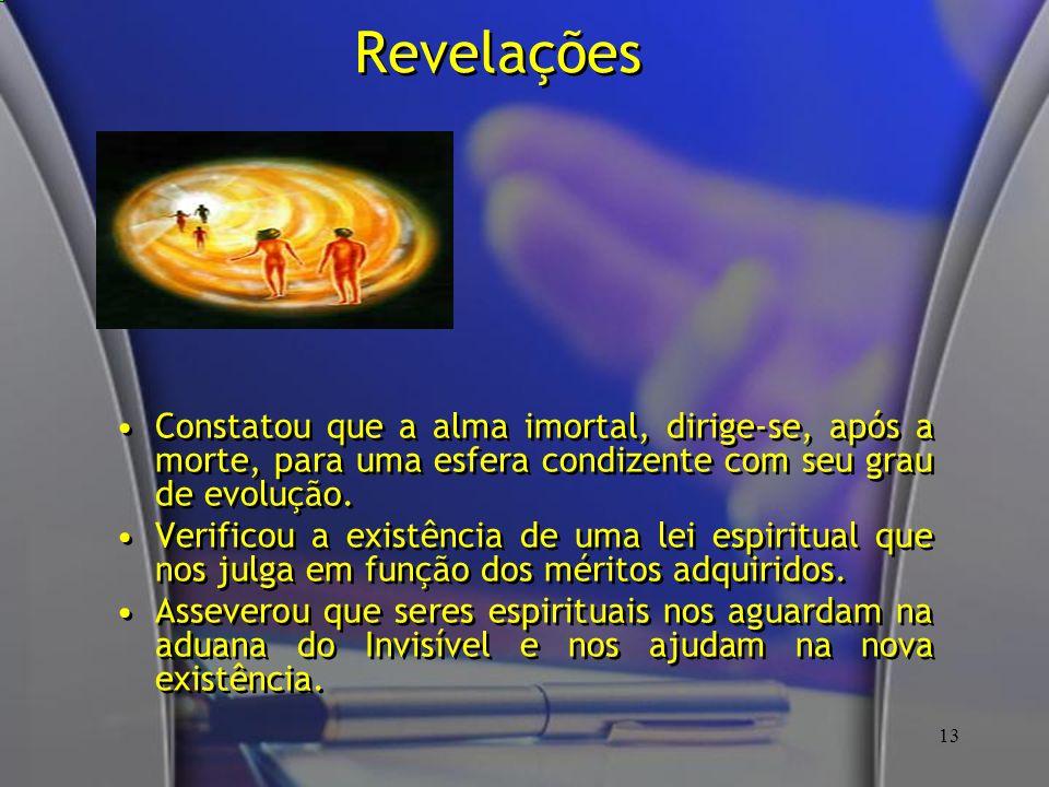 Revelações Constatou que a alma imortal, dirige-se, após a morte, para uma esfera condizente com seu grau de evolução.