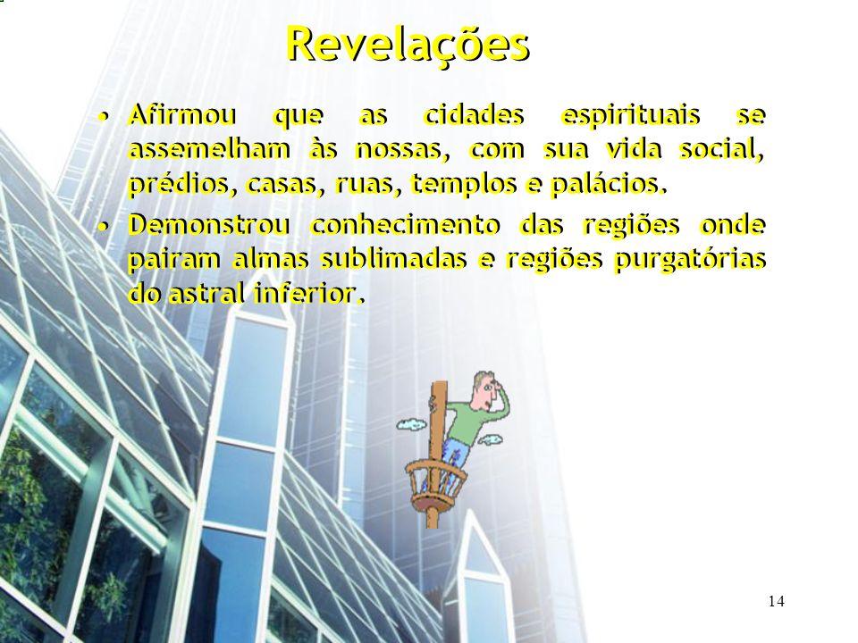 Revelações Afirmou que as cidades espirituais se assemelham às nossas, com sua vida social, prédios, casas, ruas, templos e palácios.