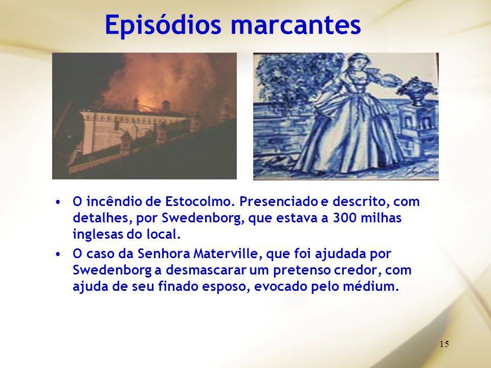 Episódios marcantes O incêndio de Estocolmo. Presenciado e descrito, com detalhes, por Swedenborg, que estava a 300 milhas inglesas do local.