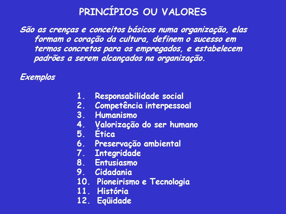 PRINCÍPIOS OU VALORES