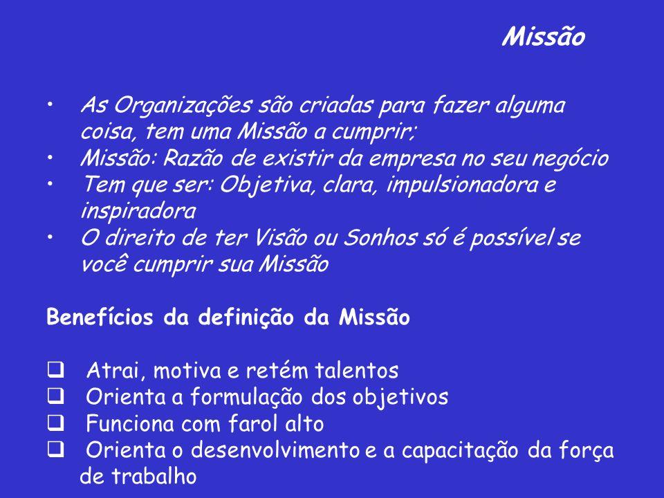 MissãoAs Organizações são criadas para fazer alguma coisa, tem uma Missão a cumprir; Missão: Razão de existir da empresa no seu negócio.