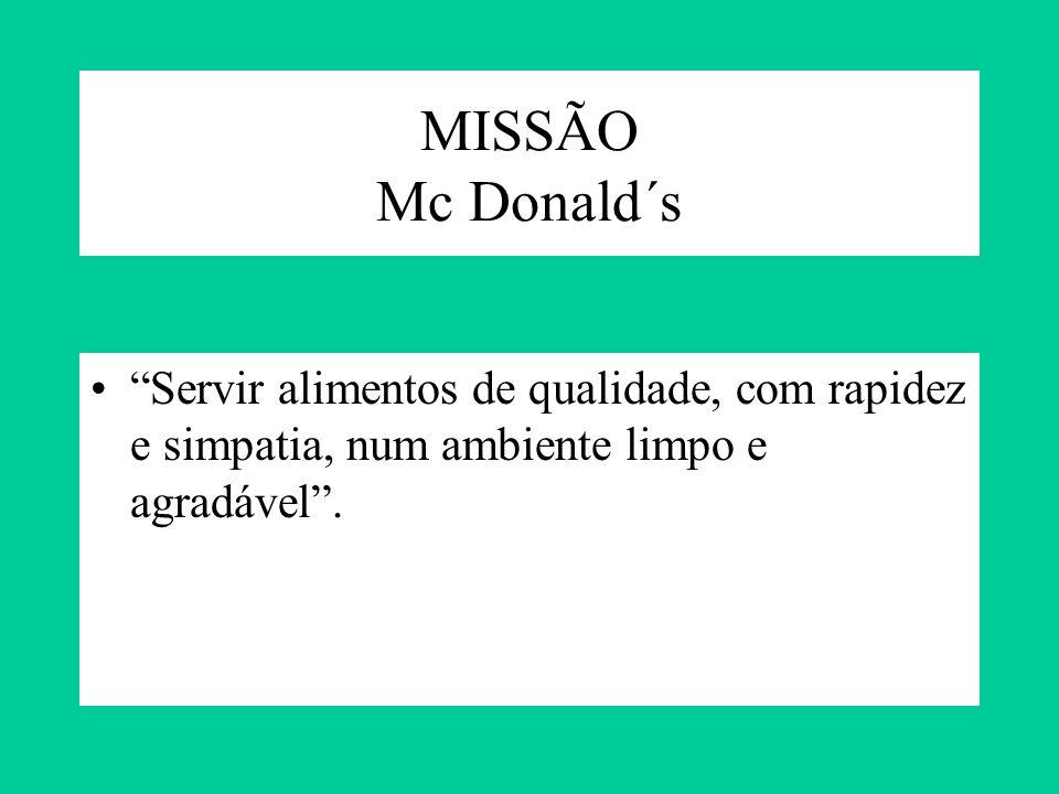 MISSÃO Mc Donald´s Servir alimentos de qualidade, com rapidez e simpatia, num ambiente limpo e agradável .