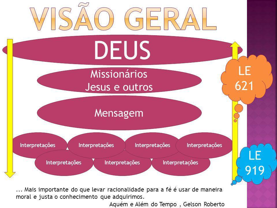 Visão geral DEUS LE 621 LE 919 Missionários Jesus e outros Mensagem