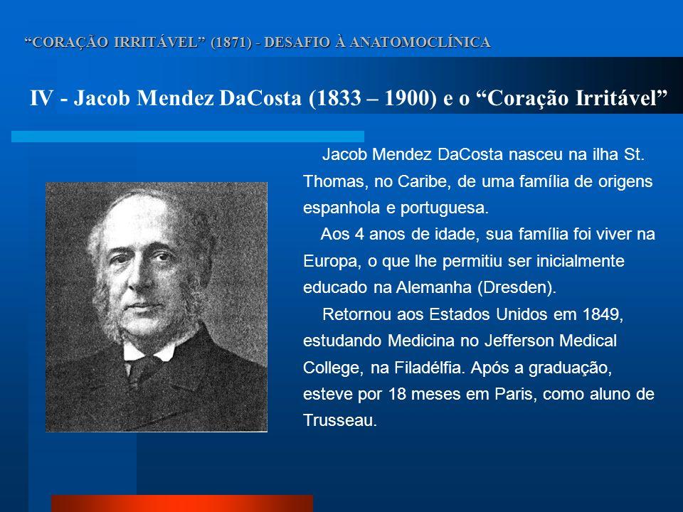 IV - Jacob Mendez DaCosta (1833 – 1900) e o Coração Irritável